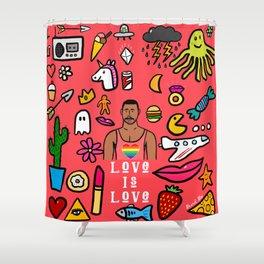 Beard Boy: Love is Love Shower Curtain