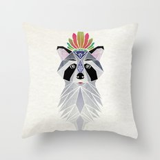 raccoon spirit Throw Pillow