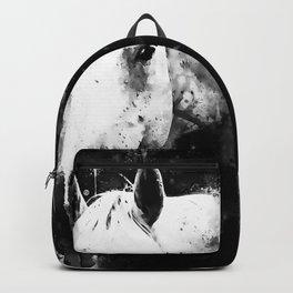 white horse face portrait watercolor splatters black white Backpack