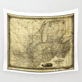Map of the Midwest United States (c 1840) Wall Tapestry