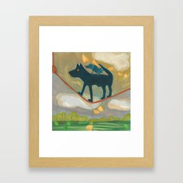 Tightrope Walking Dog Framed Art Print