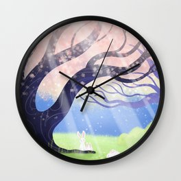 Soft Light On Soft Hares In Aloquil's Glades Wall Clock