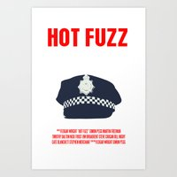 hot fuzz Art Prints featuring Hot Fuzz Movie Poster by FunnyFaceArt