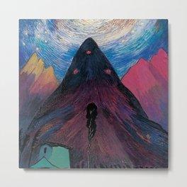'Nether Fires' Milky Way & Stars mountain nighttime landscape by Marianne von Werefkin Metal Print