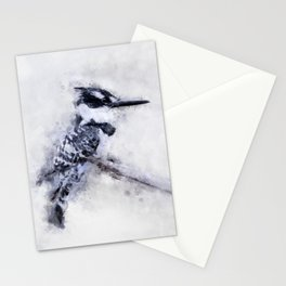 Pied Kingfisher Bird Print Watercolour A4, Animal Poster Print, Birds Digital Prints, Poster Print, Stationery Cards
