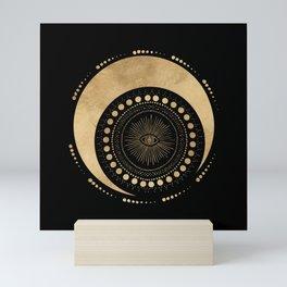 Secret geometric all-seeing eye and moon Mini Art Print