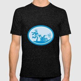 Man With Snow Blower Oval Cartoon T-shirt