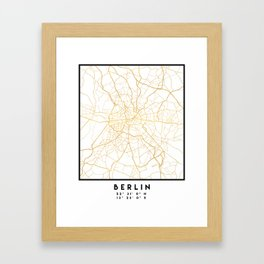 BERLIN GERMANY CITY STREET MAP ART Framed Art Print