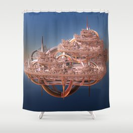 Rose Gold Floating Fractal City Shower Curtain