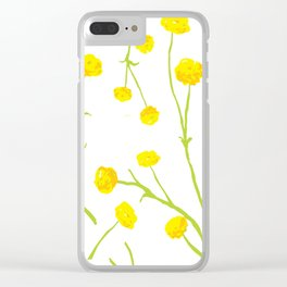 Summer Flower Pattern in Yellow and Green Clear iPhone Case