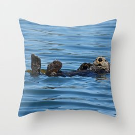 Sea Otter Photography Print Throw Pillow