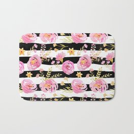 Delicate Poppy Pattern On Stripes 2 Bath Mat