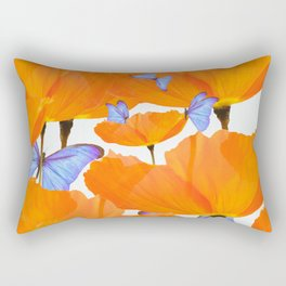 Poppies And Butterflies White Background #decor #society6 #buyart Rectangular Pillow