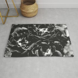 Black and White Rose Bush Rug
