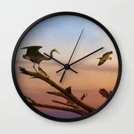 Heron And Osprey At Sunset Wall Clock