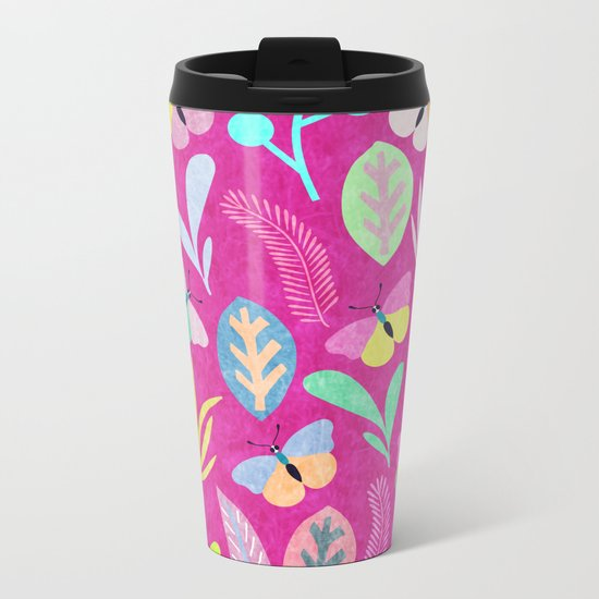 Flower and Butterfly Metal Travel Mug