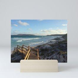 Stroll to the beach Mini Art Print