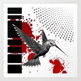 Trash Polka Flying Hummingbird Geometric Shapes Art Print