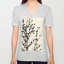 Simple  ivory black tree branches cute birds Unisex V-Neck