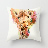 giraffe Throw Pillows featuring giraffe by RIZA PEKER