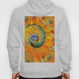 ORANGE & BLUE NAUTILUS ABSTRACT ART Hoody