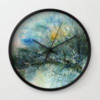 lake Wall Clocks featuring Lake by Iris V.
