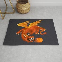 Pixel Fiery Dragon Rug