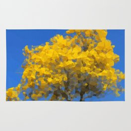 Blooming tree Geometric yellow and blue Rug