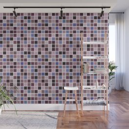 Abstract Light Pink, Purple and Dark Purple Square Mosaic Tile Pattern Wall Mural
