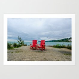 Red Chairs at Bluffers Park and Beach Art Print