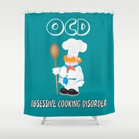 cooking Shower Curtains featuring OCD Obsessive cooking disorder by mangulica