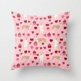 Akita valentines day cupcakes dog breed hearts pet portrait akitas pet friendly Throw Pillow