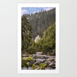 Beautiful view on a mountain river and a house Art Print