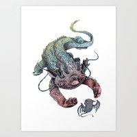 dragon Art Prints featuring dragon by luiza kwiatkowska