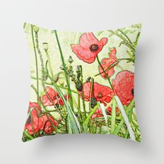 Sketching Poppies Throw Pillow