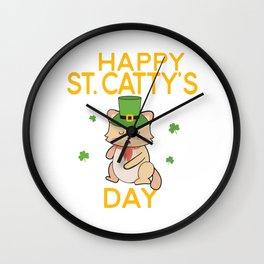 Happy St Cattys Day Cute Irish Patricks Day Cat Design Wall Clock