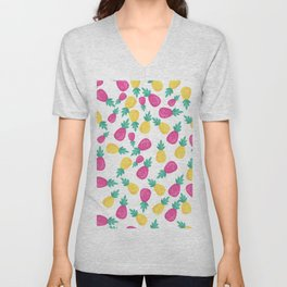Pink yellow hand painted tropical pineapple pattern Unisex V-Neck