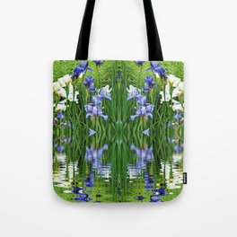 PURPLE IRIS WATER GARDEN  REFLECTION Tote Bag