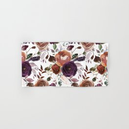 Hand painted brown violet pink watercolor roses floral Hand & Bath Towel