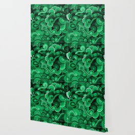 Swirly Emerald Green Wallpaper