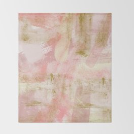 Rustic Gold and Pink Abstract Throw Blanket