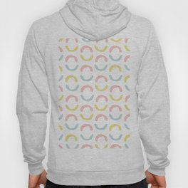 Pastel pink coral blue yellow abstract geometrical circles Hoody