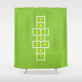 Hopscotch Green Shower Curtain