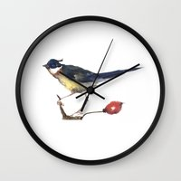 birdy Wall Clocks featuring Birdy by Ivanushka Tzepesh