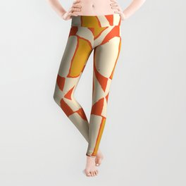 Mid Century Patterns in red and yellow Leggings