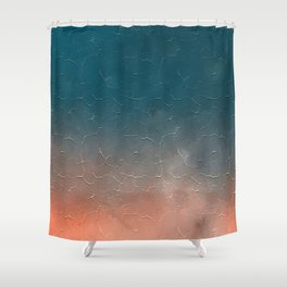 Modern  Textured  Atlantic Blue Abstract Shower Curtain