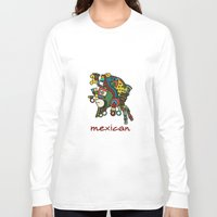 mexican Long Sleeve T-shirts featuring mexican warrior by laika in cosmos