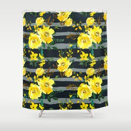 Yellow black gray watercolor modern floral stripes Shower Curtain