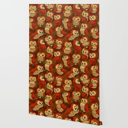 Northern Saw-whet owls pattern. Wallpaper