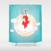 jackalope Shower Curtains featuring Jackalope by Oğuzhan Ada
